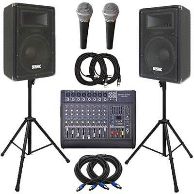 """Seismic Audio Power Mixer, DJ 15"""" PA Speakers, Stands & Cable Package - Active"""
