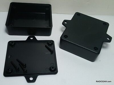 2 pcs USA black Plastic Project Box Enclosure case 3 x 2.5 x 1 in mounting tabs
