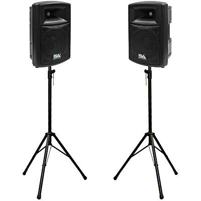 """Pair of Active 10"""" Molded 2-Way PA Loudspeakers with two Tripod Speaker Stands"""