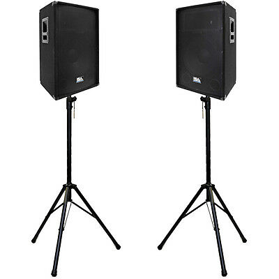 """Pair of Powered 2-Way 15"""" PA / DJ / Band Speaker Cabinet with two Tripod Stands"""