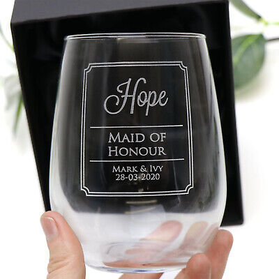 Personalised Engraved 500ml Stemless Wine Glass Wedding Bridesmaid Gift Favour