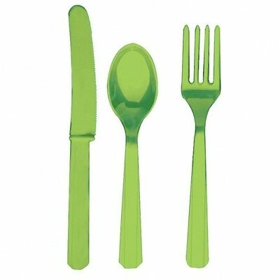 KIWI GREEN Reusable Plastic CUTLERIES (Amscan) (Birthday/Party/Tableware)