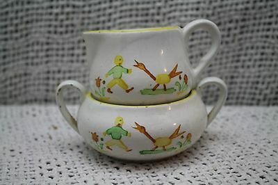 vtg old SCHRAMBERG GERMANY POTTERY CREAMER PITCHER SUGAR BOWL GOOSE SMALL CHILD