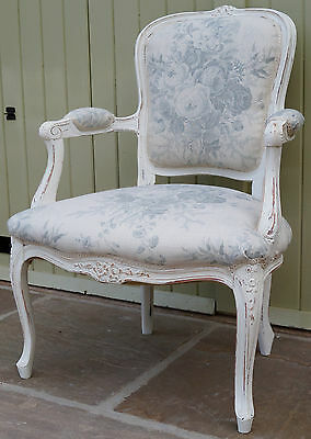 Vintage French Louis XV Armchair upholstered in KATE FORMAN 'Blue Roses'