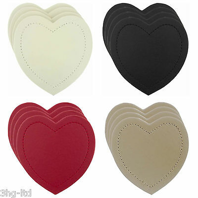 Set of 4 Heart Shape Drinks Coasters Faux Leather Black Cream Red Brown New