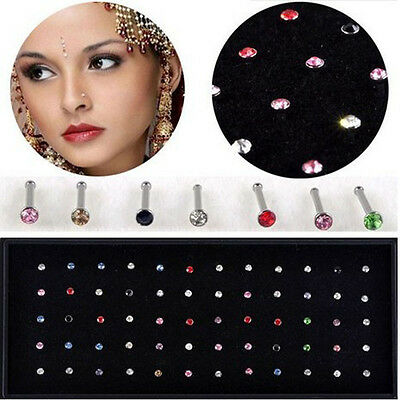 60x Wholesale Lot Mixed Color Rhinestone Nose Ring Stud Body Piercing Jewelry