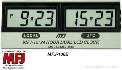 MFJ-108B - 12/24 Hour Dual LCD Clock, Quartz, Long Life Battery Included (NEW)