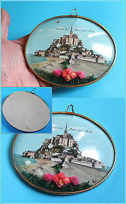 """Vtg French wall souvenir from island """"Mont Saint Michel"""" / convex glass / 1950s"""