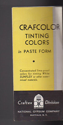 Crafcolor Tinting Colors in Paste Form Brochure Paint Chips 1937 National Gypsum