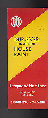 Dur-Ever Linseed Oil House Paint Brochure Chips 1938 Longman & Martinez