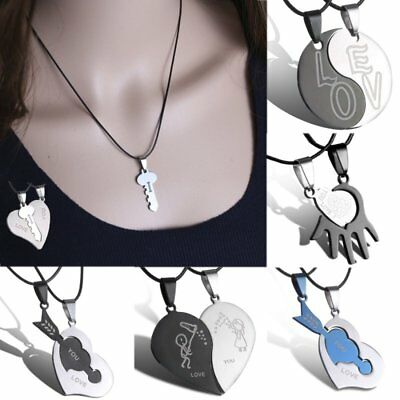 Men Womens 2PC Lover Couple Trend Necklace Stainless Steel Pendent Jewelery Gift