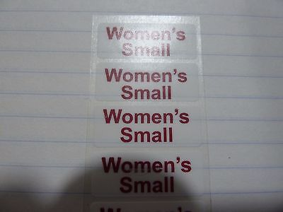 "Women's Small Retail Clothing Size Strip Stickers Clear 1.25 x 5"" ---20 labels"