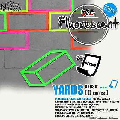 """24""""x 1 Yd Fluorescent Adhesive backed Sign Wall Craft Vinyl Choose from 6 colors"""