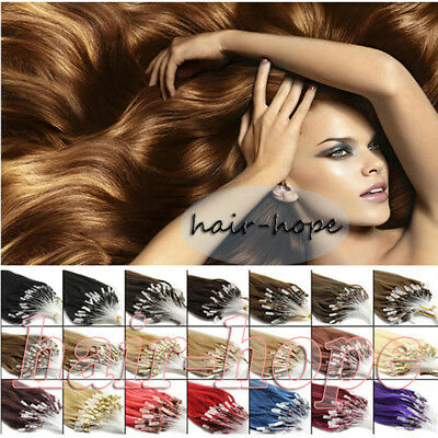 16-26inch Micro Loop Ring Beads Tipped Brazilian Remy Human Hair Extensions 100S
