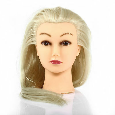 Hairdressing 30% Real Long Natural Hair Training Mannequin Head+Free Clamp