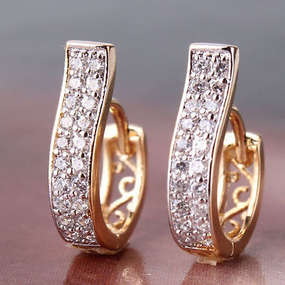 Charm 18K Rose gold Platinum white Beautiful Crystal CHIC hoop earring Jewerly