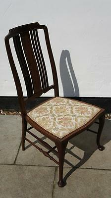 Edwardian inlaid mahogany  occasional/bedroom/side chair, upholstered seat VGC