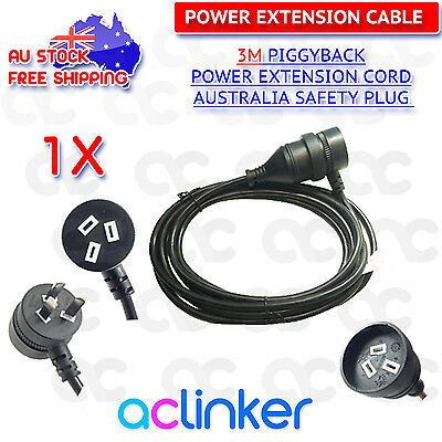3M Piggyback Mains Power Extension Cord Australian 240V Power Lead AU 3Pin Black