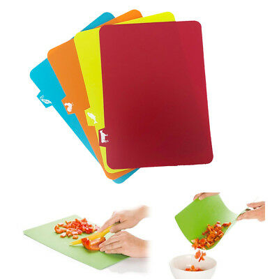 4 Chopping Mats Flexible Board Colour Thin Plastic Kitchen Cutting Food Cut Tool