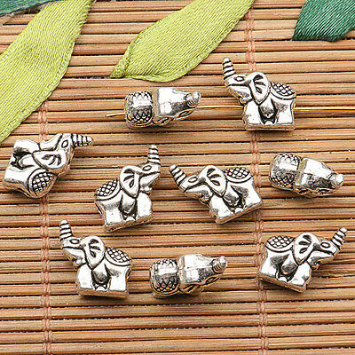 12pcs tibetan silver tone little cute elephant Spacer beads h0600