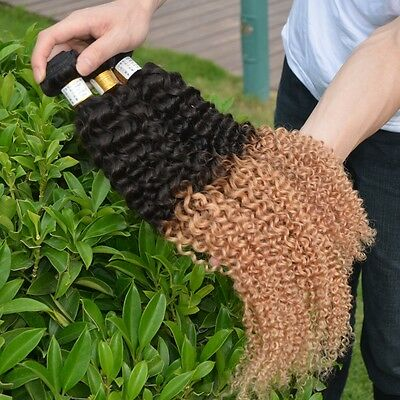 100% Real Brazilian Ombre 1B/27 Kinky Curly Remy Human Hair Weave  100g 6A