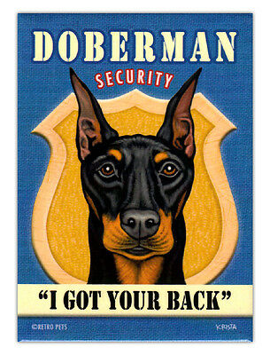 Retro Dogs Refrigerator Magnets - Doberman Pinscher Security - Advertising Art