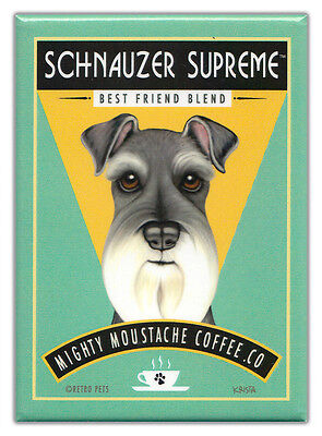 Retro Dogs Refrigerator Magnets: SCHNAUZER | COFFEE | Vintage Advertising Art