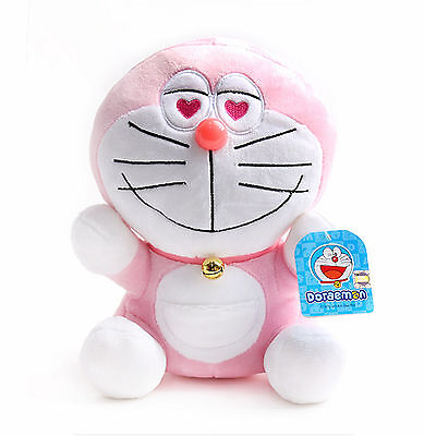 "NEW Doraemon Sitting Plush Doll Stuffed Animal Soft Toy 25cm ( 9.8"") / Pink"
