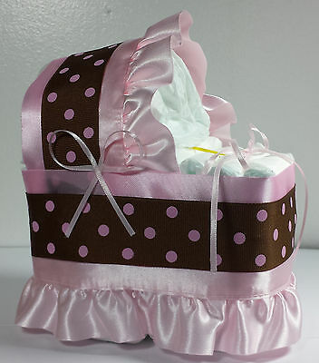 Diaper Cake Beautiful Bassinet Carriage Baby Shower Gift for Girls - Pink/Brown