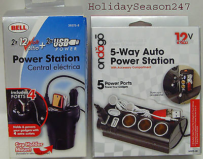 Bell 4-Way Cup Holder 5-Way Auto Power Station W/ 2 USB For Gadget Accessories