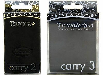 Black LEATHER CASE for 2 or 3 Travalo Perfume Travel Atomizer Sprays Magnetic