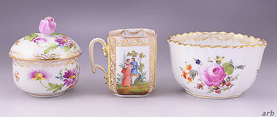 3 Lot of Lovely German Porcelain: Covered Jar & Cup By Dresden, Bowl By Meissen