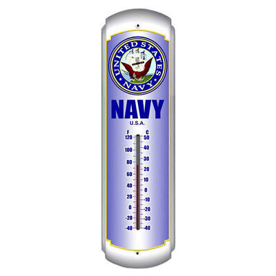Navy US Military Emblem Metal Thermometer Indoor Outdoor Decor 5 x 17
