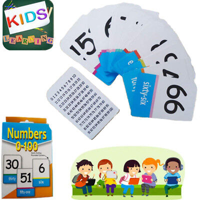 0-100 Number Cards Kids Math Learning Cards Read/Count Activity Educational Pack