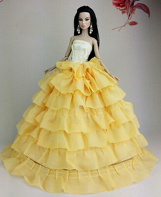 Yellow Fashion Princess Dress Clothes/Gown For 11.5in.Doll S124Y