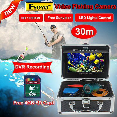 "EYOYO 30M 7"" LCD HD Underwater Video Camera DVR System Fish Finder,4G SD Photo"
