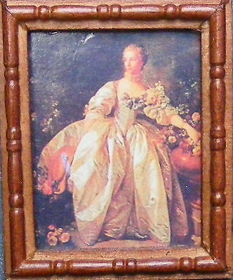 1:12 Picture (Print) Of A Lady In A  Wooden Frame Dolls House Miniature Art SA
