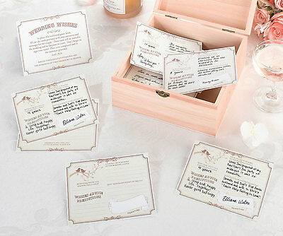 48 Tan Wish Cards For Wedding Wishes Wooden Card Box