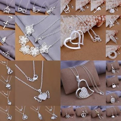 NEW GIFT Women 925 Sterling Silver Jewelry Pendant Necklace Chain