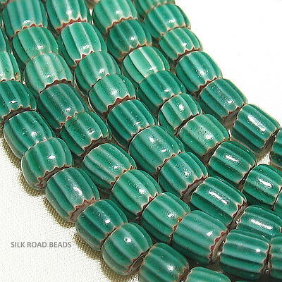 30 old antique venetian watermelon 4 layer chevron beads african trade #441