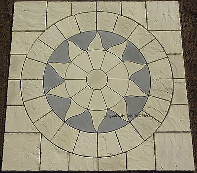 3Mx3M Paving Sun Circle & Sq Off Patio Slab Stone Free Delivery Note Exceptions