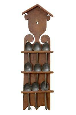 19Th Century Swedish Rustic Wall Mounted Spoon Rack