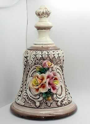 "Large Capodimonte Porcelain Bell Signed 11"" Made in Italy"