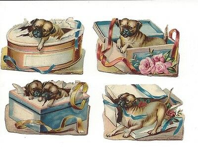 Victorian Die Cut Scrap 4 Boxes with Pugs