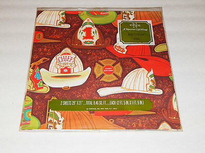 Vtg NORCROSS kitchy fire man hats BIRTHDAY Boys WRAPPING PAPER 2 sheets NOS