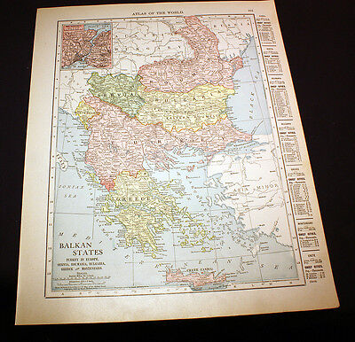 Color Map Balkan States Serbia Bulgaria Montenegro Romania or Russia 1914