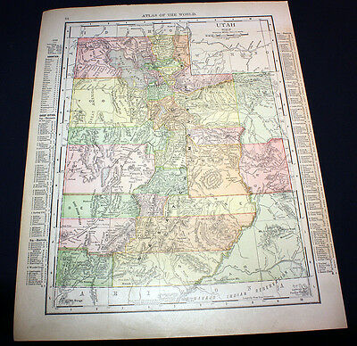 Antique Color Map State of Utah or Wyoming 1914 Rand McNally
