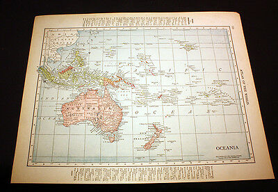 Antique Color Map Oceania South Pacific or Abyssinia 1914 Rand McNally