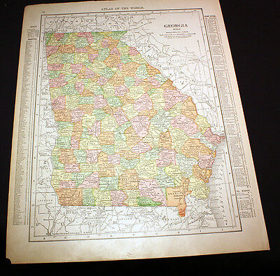 Antique Color Map Georgia or South Carolina 1914 Rand McNally