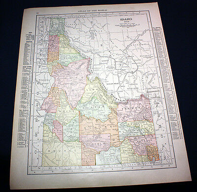 Antique Color Map State of Idaho or Montana 1914 Rand McNally